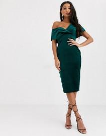 ASOS DESIGN Velvet Fallen Shoulder Midi Pencil Dress