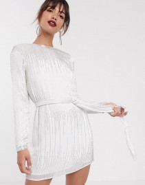 ASOS EDITION Linear Beaded Mini Dress