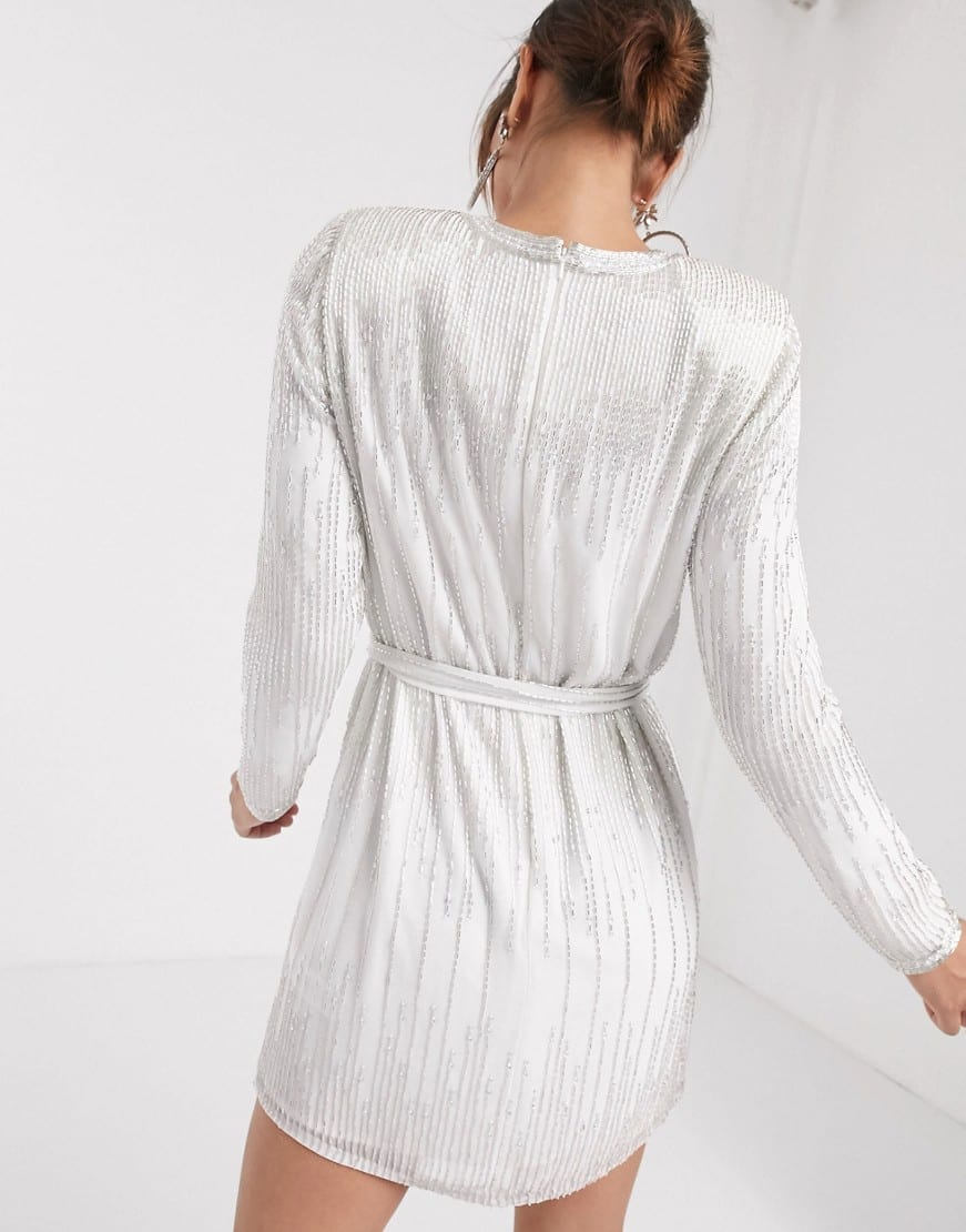 ASOS EDITION Linear Beaded Mini Dress