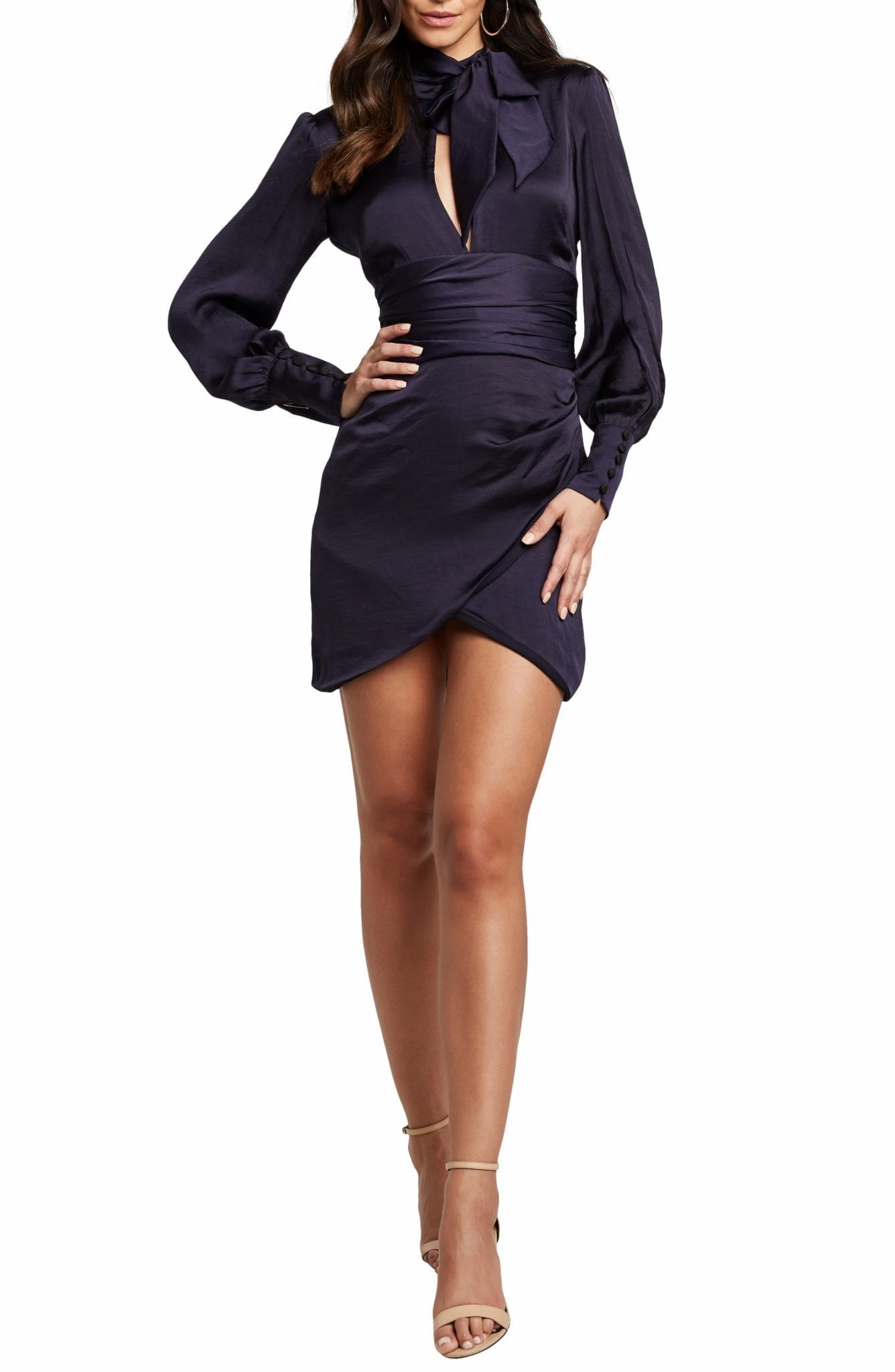 BARDOT Louise Long Sleeve Satin Mini Dress