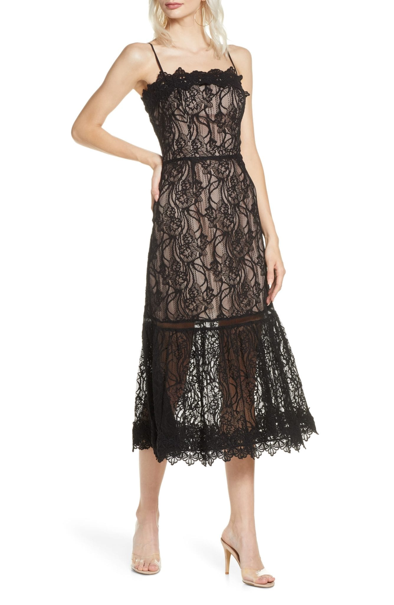 BB DAKOTA Scalloped Lace Midi Dress