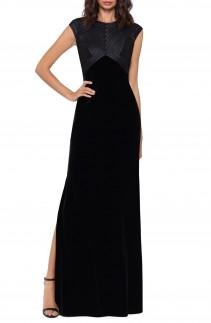 BETSY & ADAM Texture Stripe Velvet Gown
