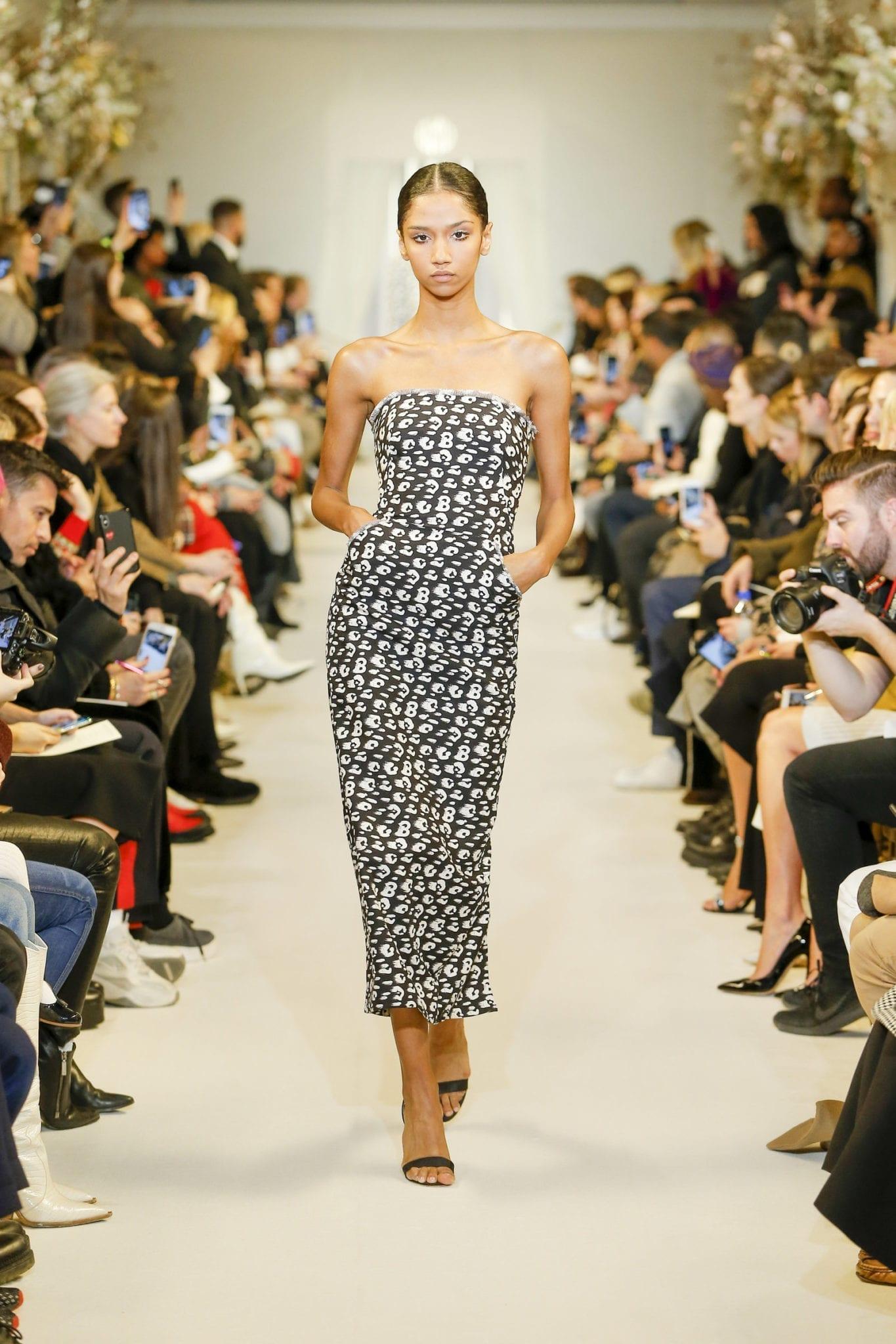 BRANDON MAXWELL Printed Silk Midi Dress