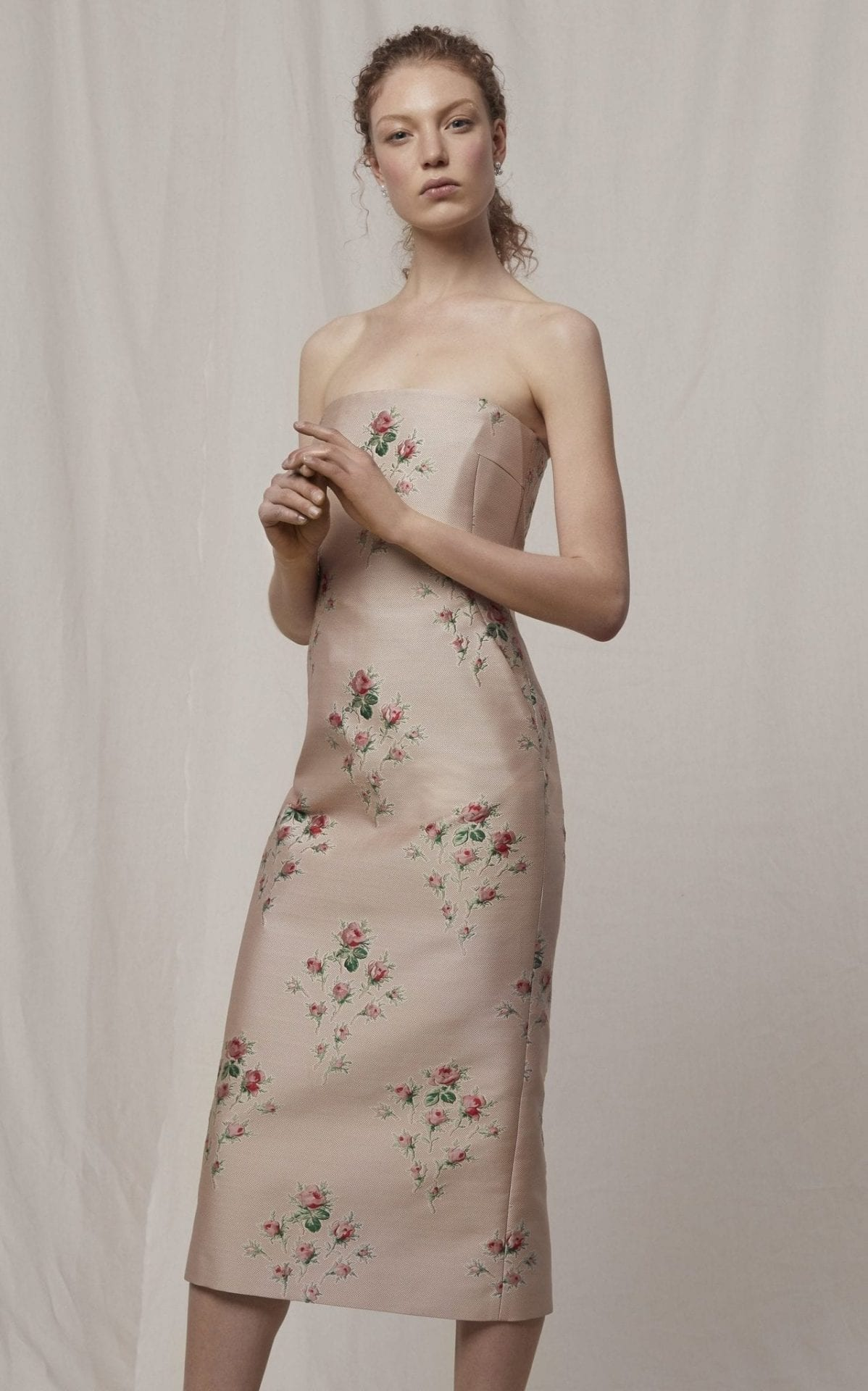 BROCK COLLECTION Pollie Floral-Embroidered Strapless Duchess Satin Dress
