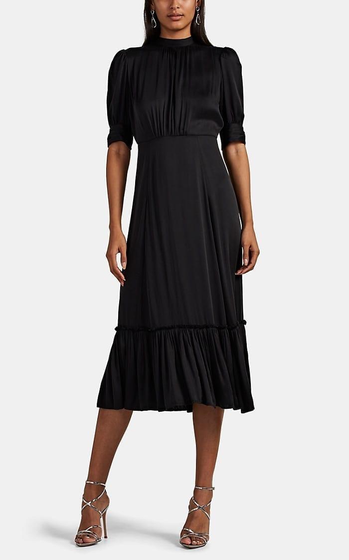 BYTIMO Washed Satin Midi-Dress