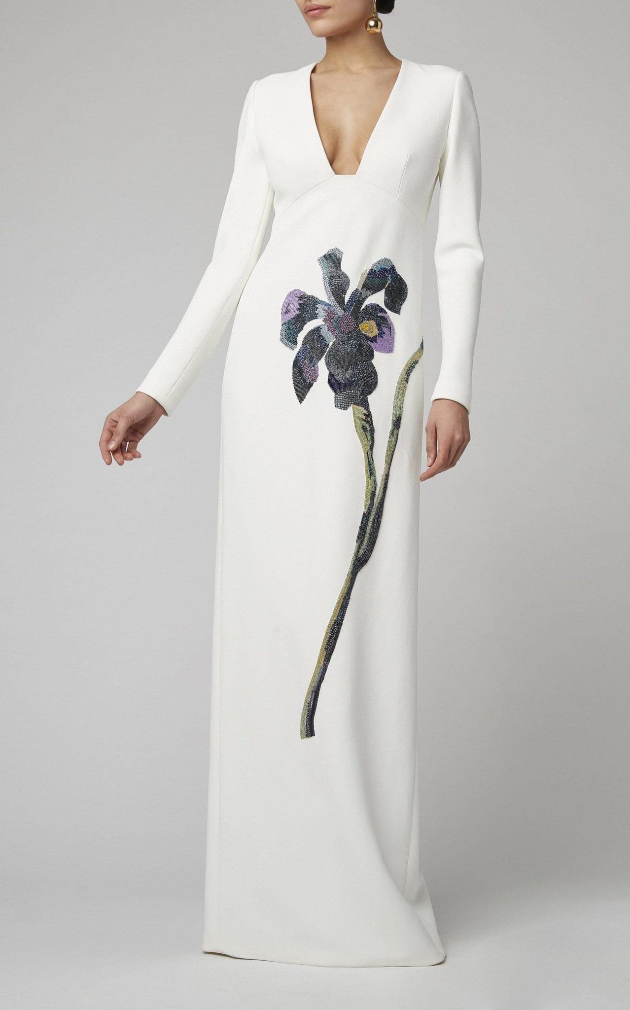 CAROLINA HERRERA Floral-Embellished Crepe Gown