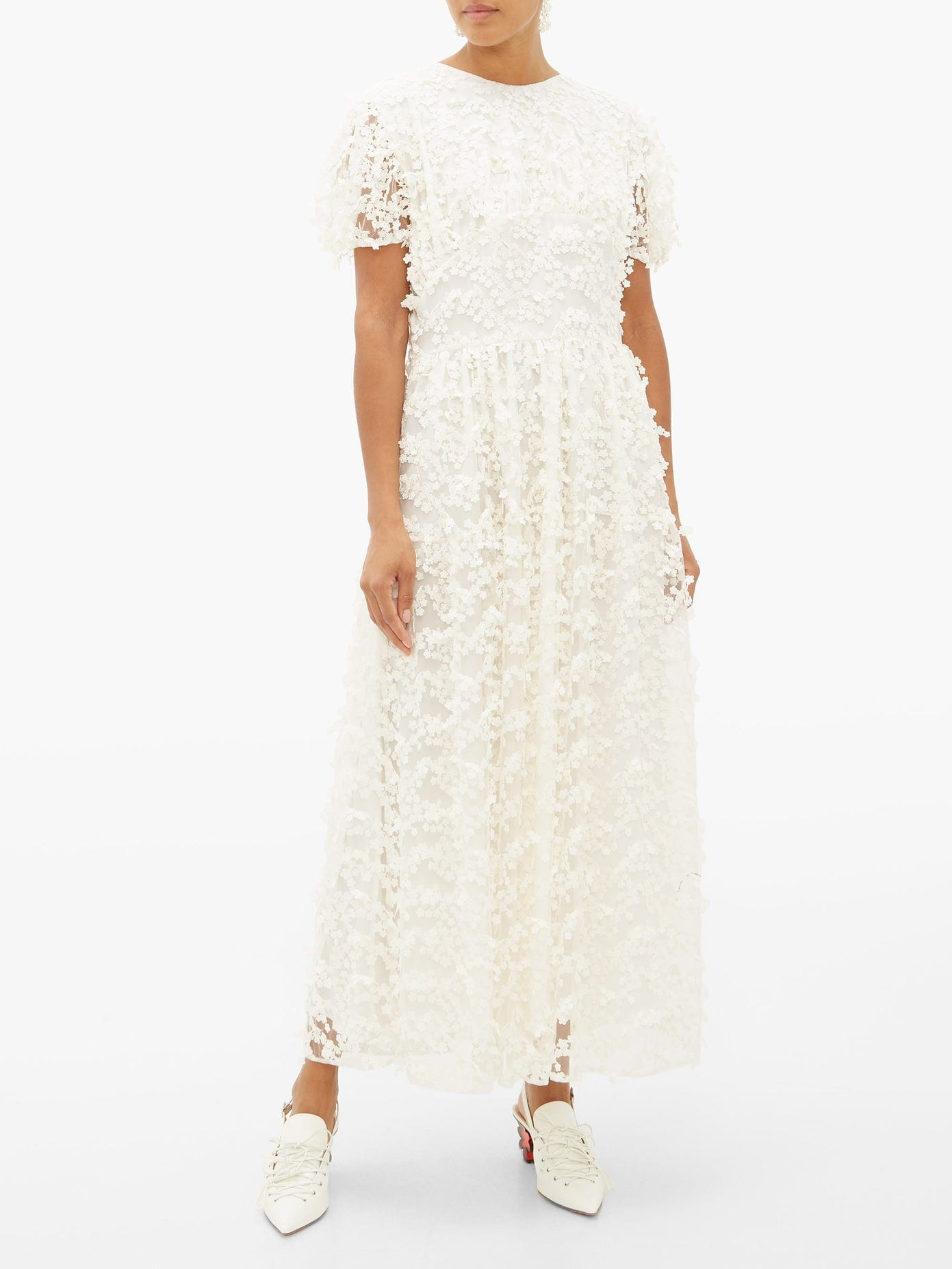 CECILIE BAHNSEN Tai Floral-embroidered Tulle Dress