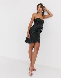 COLLECTIVE THE LABEL Bow Detail Bandeau Pu Mini Dress
