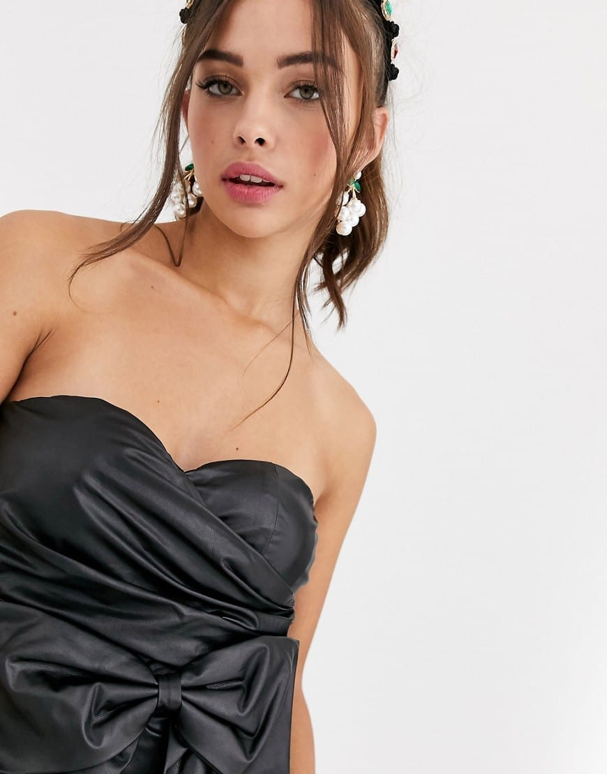 COLLECTIVE THE LABEL Bow Detail Bandeau Pu Mini Dress