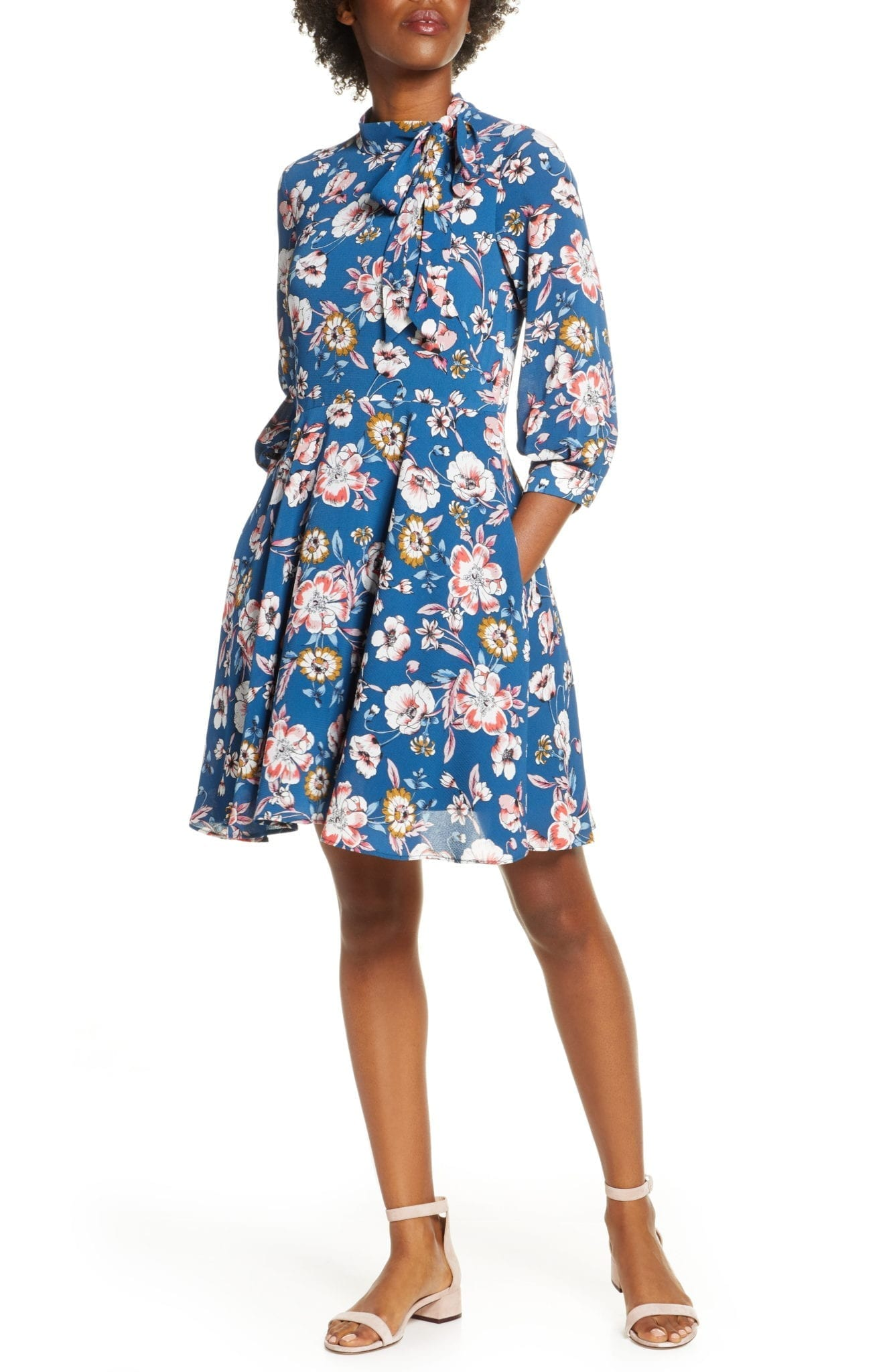 ELIZA J Floral Tie Neck Fit & Flare Dress