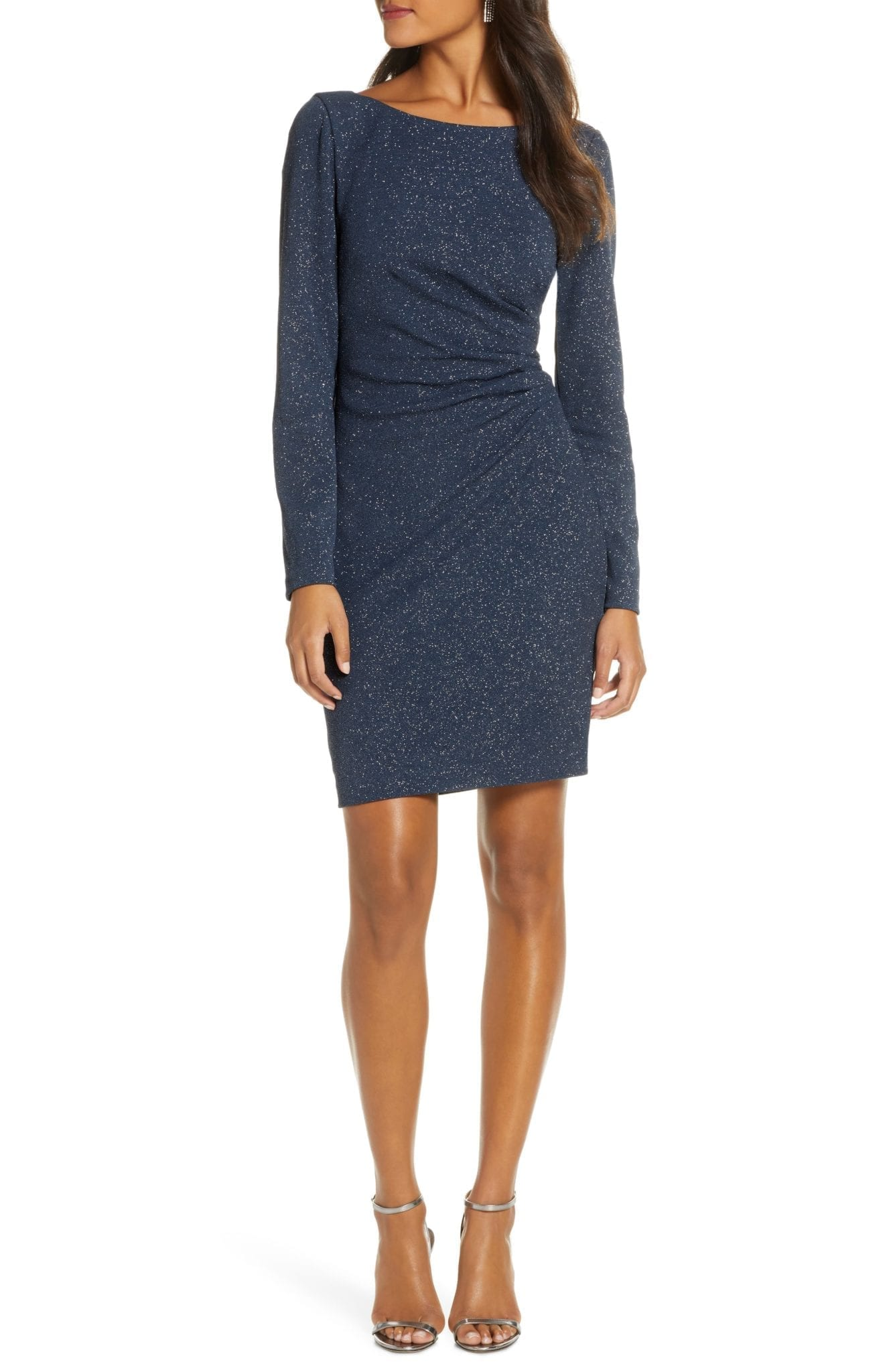 ELIZA J Long Sleeve Glitter Ruched Sheath Dress