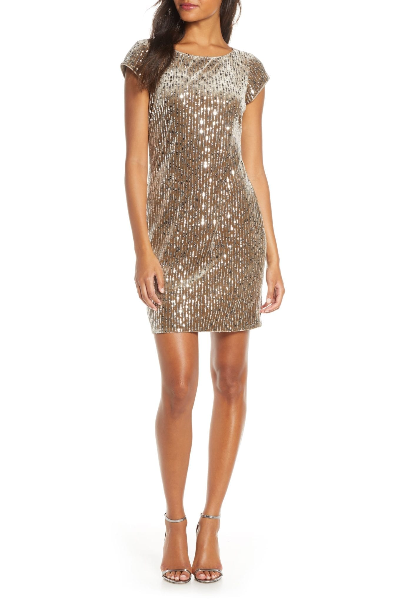 ELIZA J Sparkle Sequin Cocktail Mini Dress