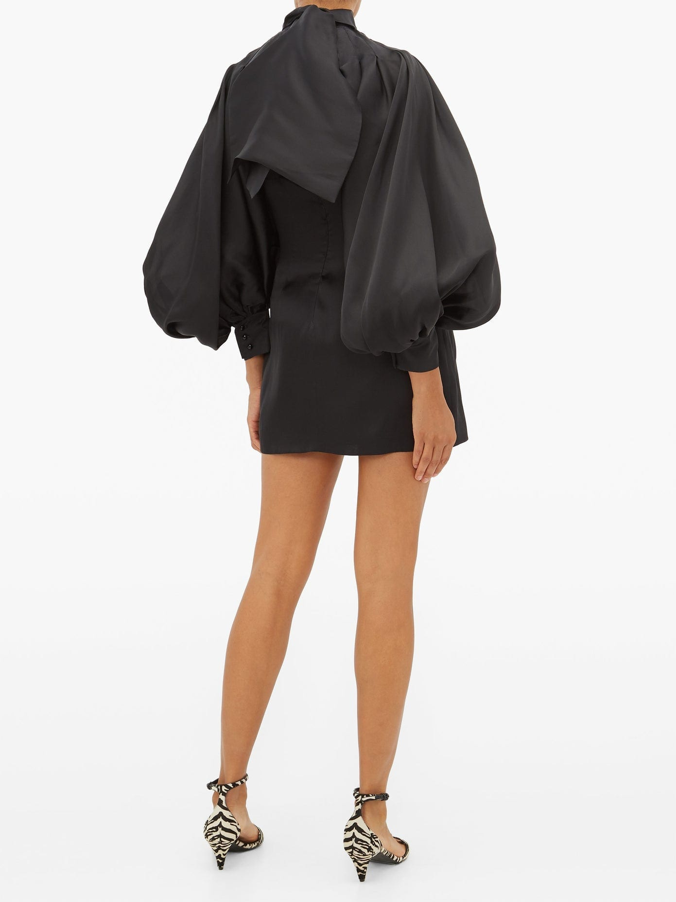 ELZINGA Balloon-sleeve Silk-organza Mini Dress