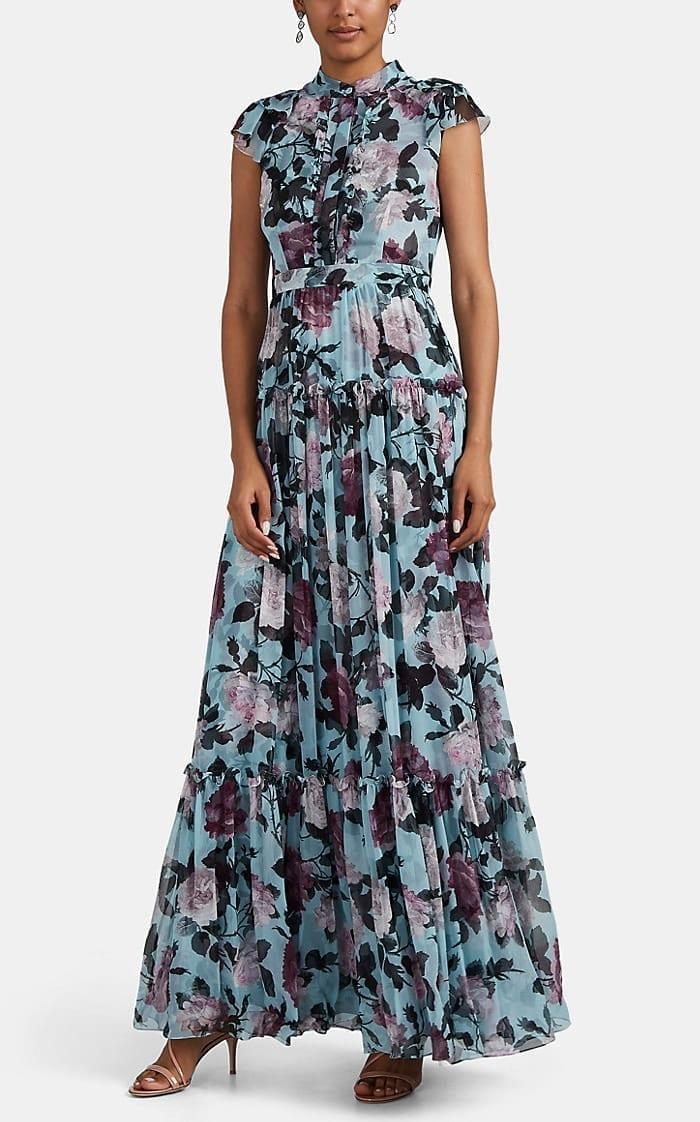 ERDEM Abella Floral Silk Chiffon Gown
