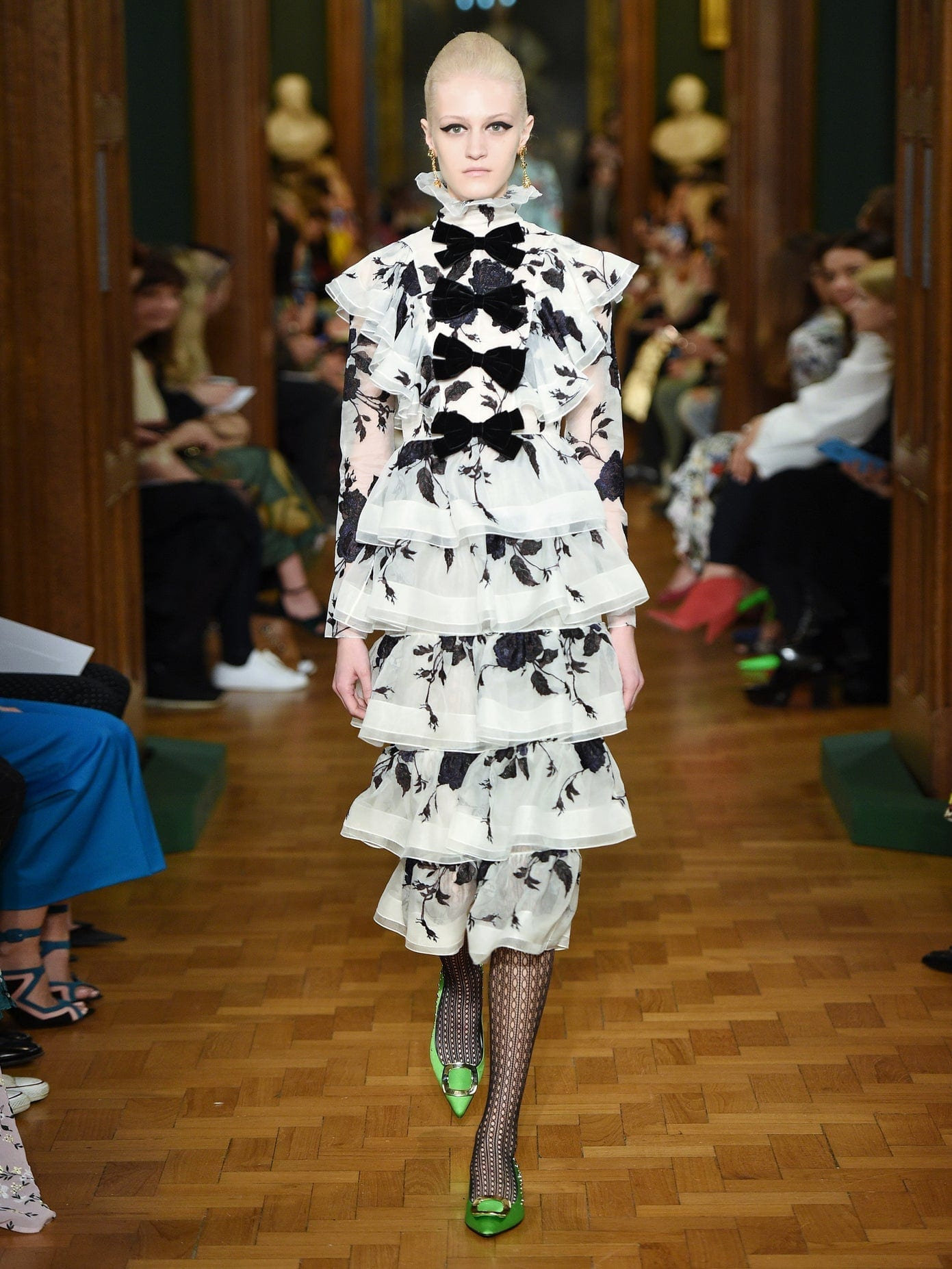 ERDEM Alcina Tiered Floral-embroidery Silk-organza Dress