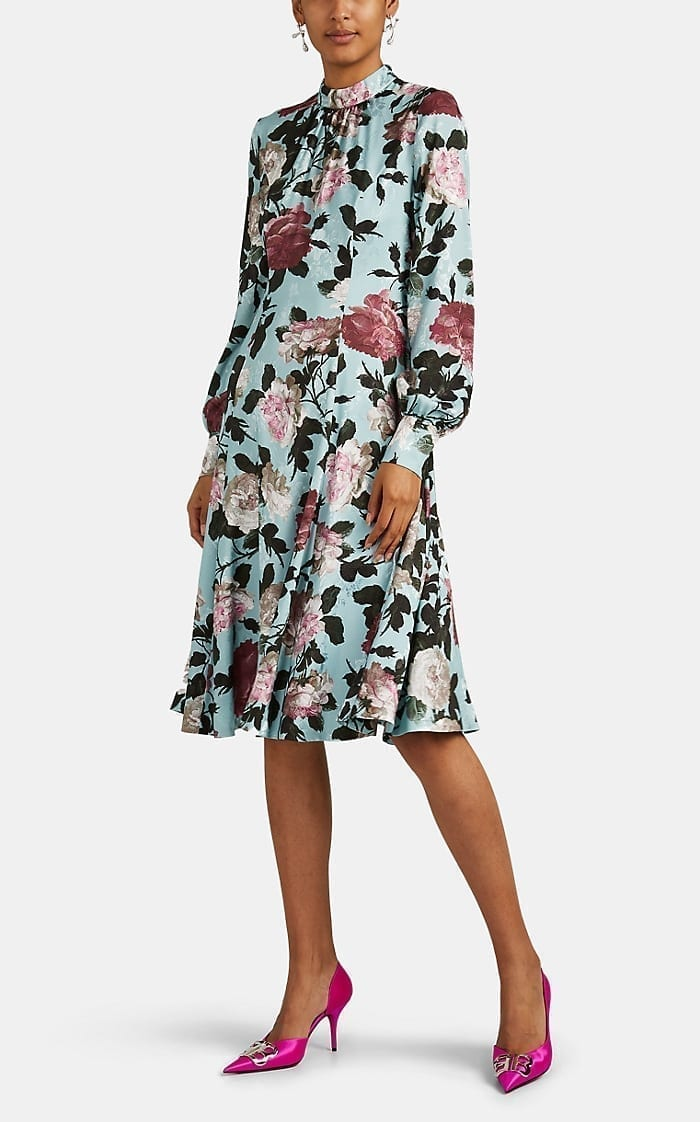 ERDEM Amalia Floral Satin Dress