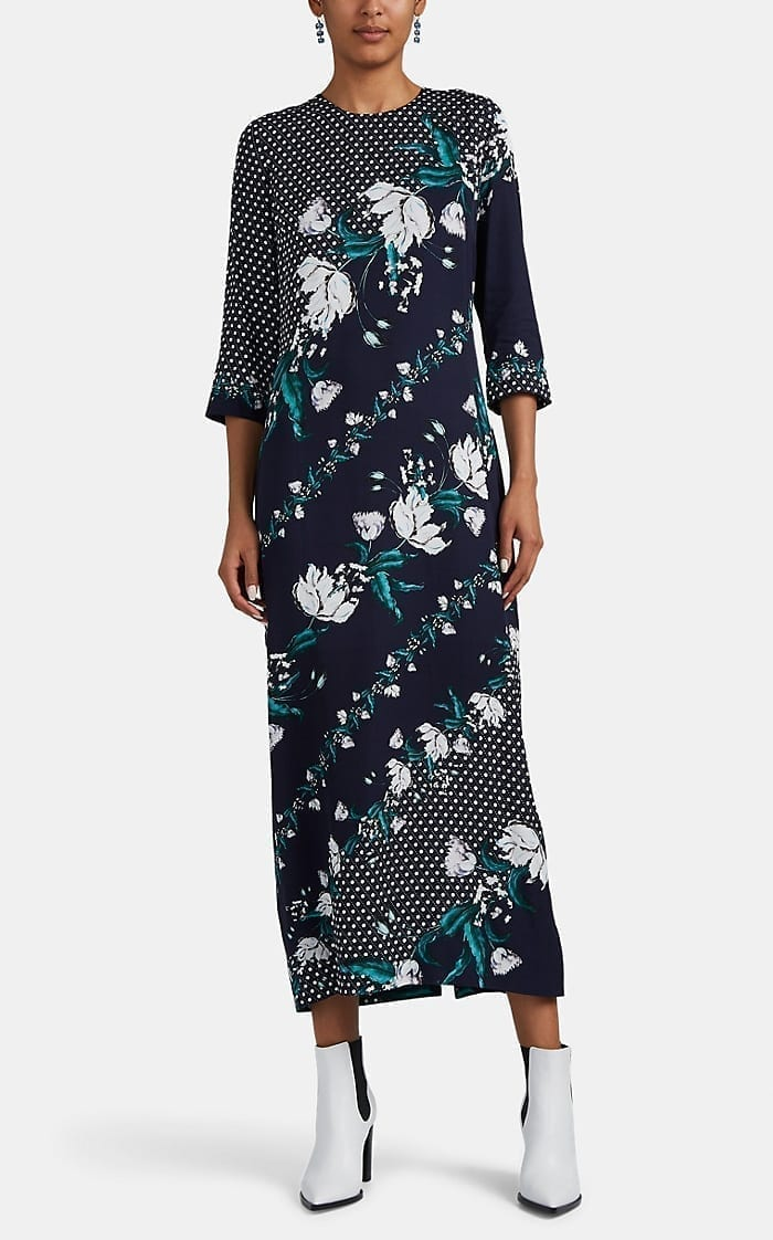 ERDEM Evanna Polka Dot & Floral Maxi Dress