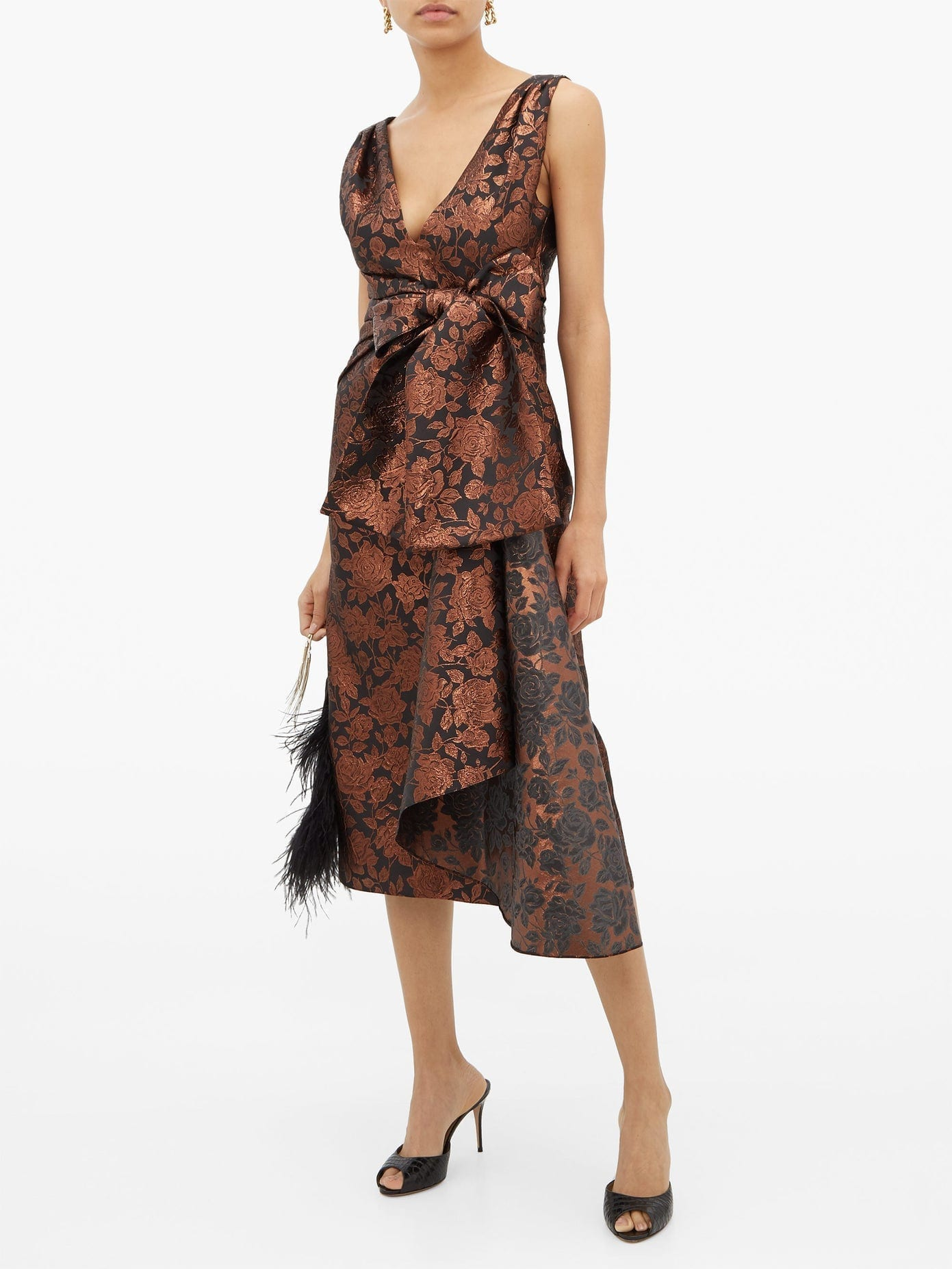 ERDEM Rosalie Sash-waist Floral-brocade Tea Dress