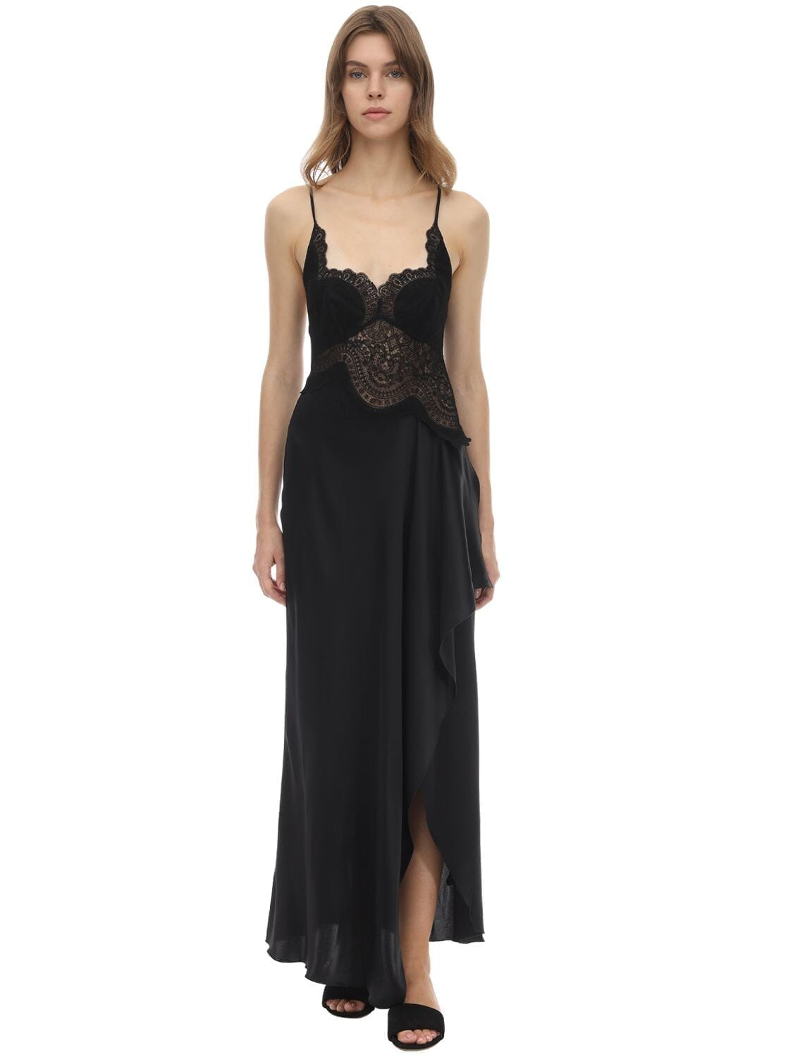 ERMANNO SCERVINO Silk & Lace Midi Slip Dress