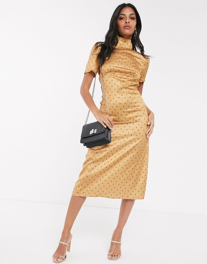 FASHION UNION Balloon Sleeve High Neck Tea Dress