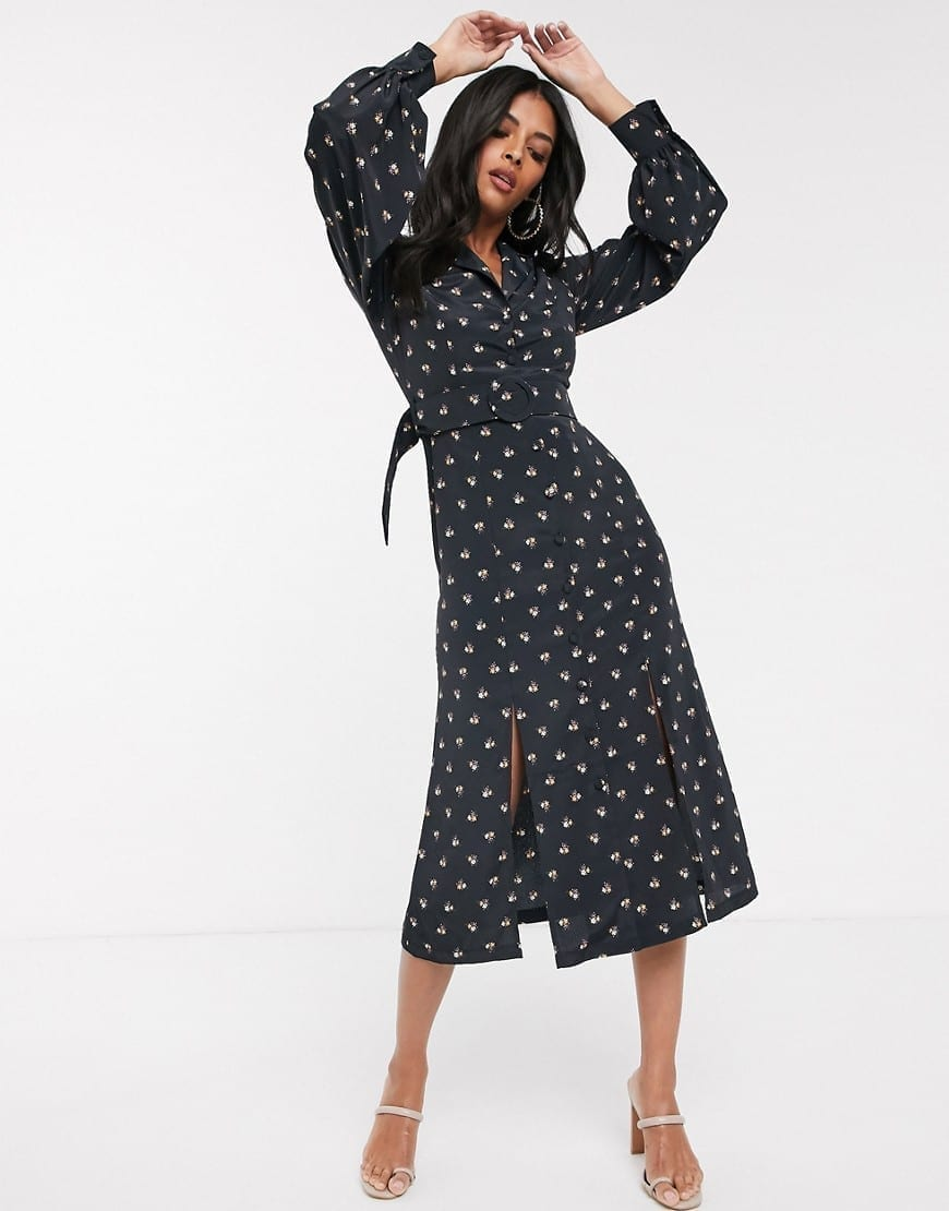 FASHION UNION Belted Waist Shirt Dress