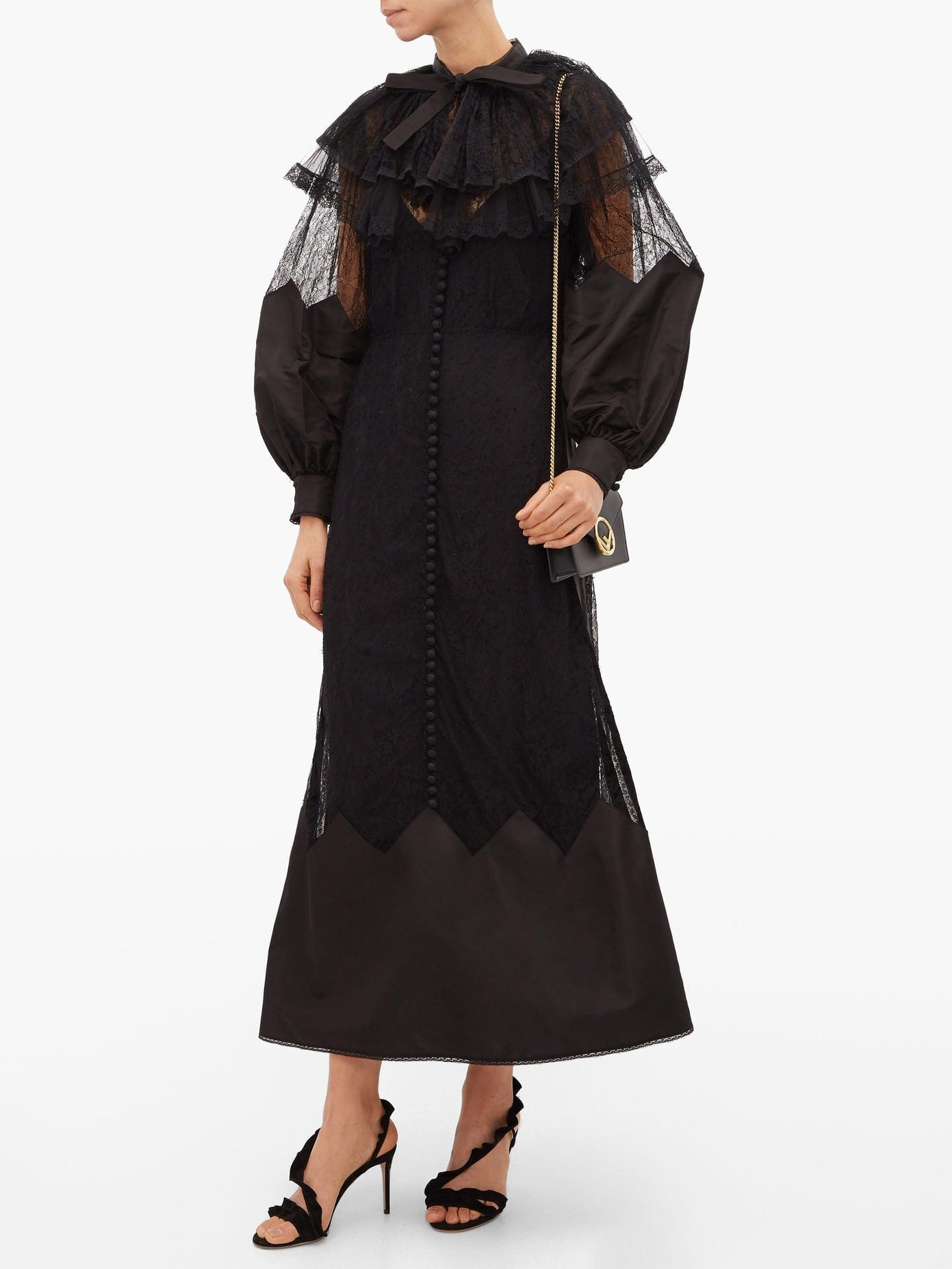 FENDI Ruffled Lace And Taffeta Midi Dress