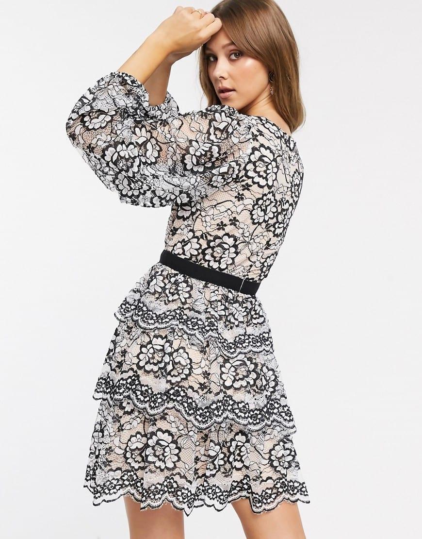 FOREVER U Contrast Waistband Mini Skater Dress