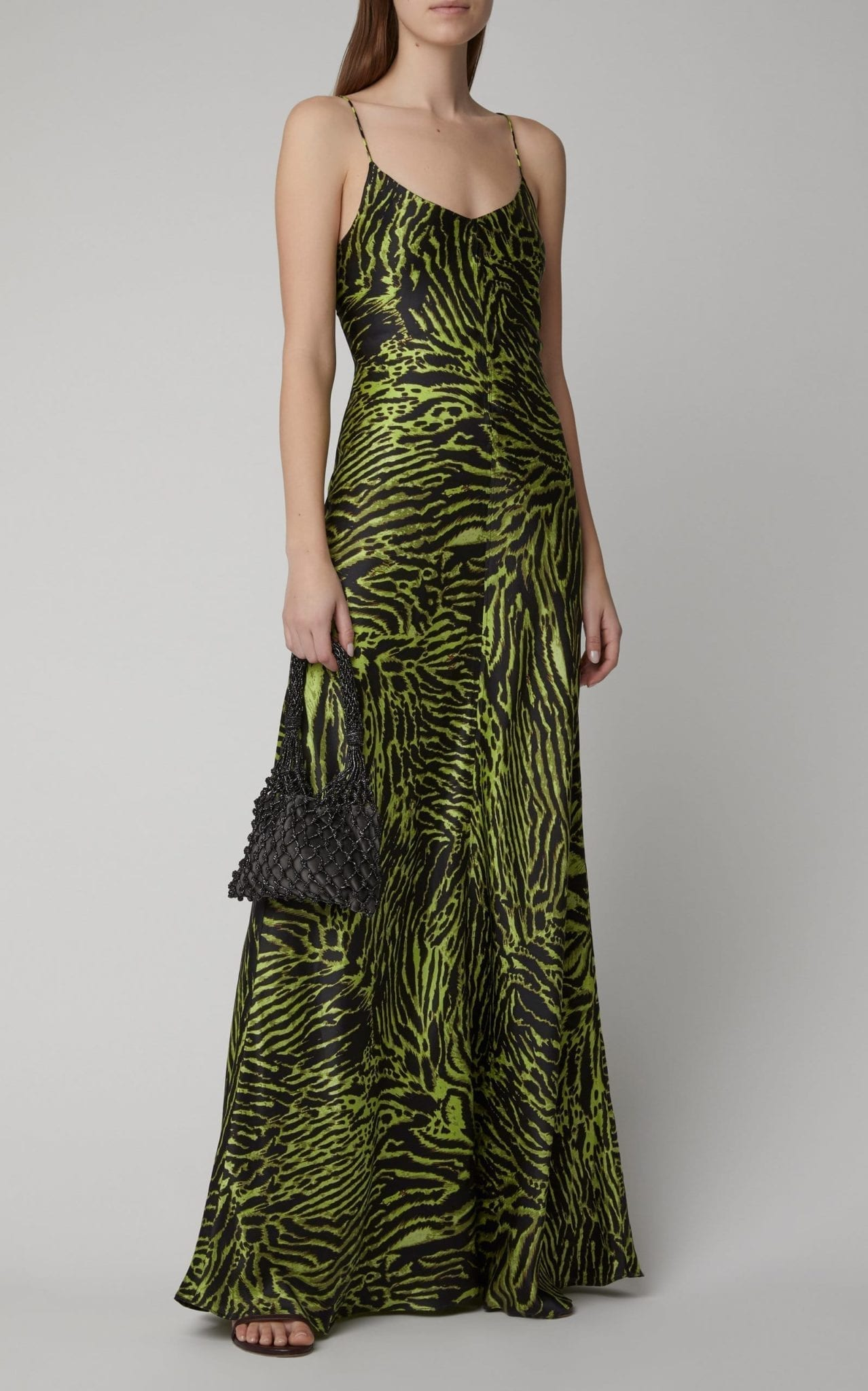 GANNI Tiger-Print Silk-Blend Satin Maxi Slip Dress