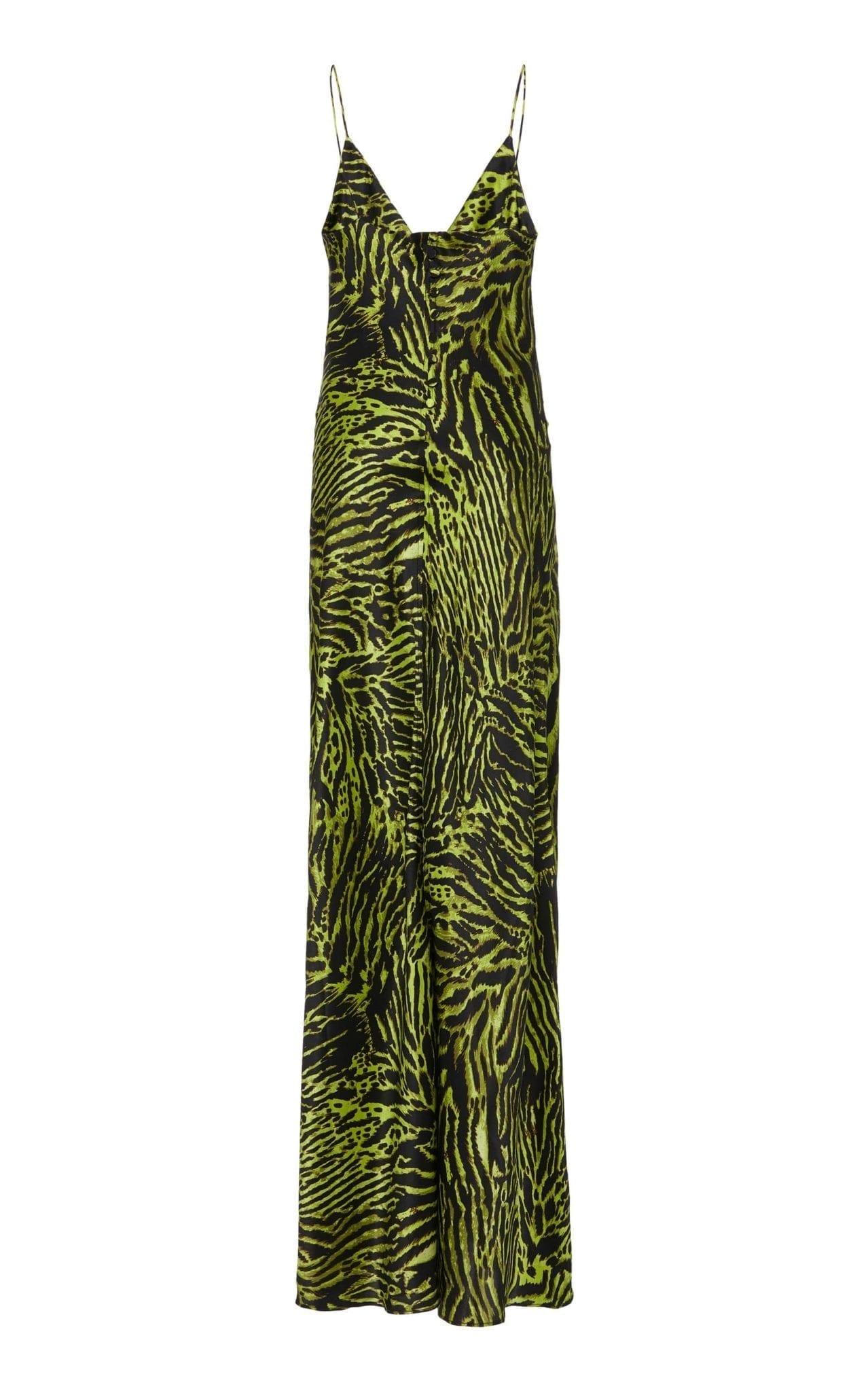 GANNI Tiger-Print Silk-Blend Satin Maxi Slip Dress