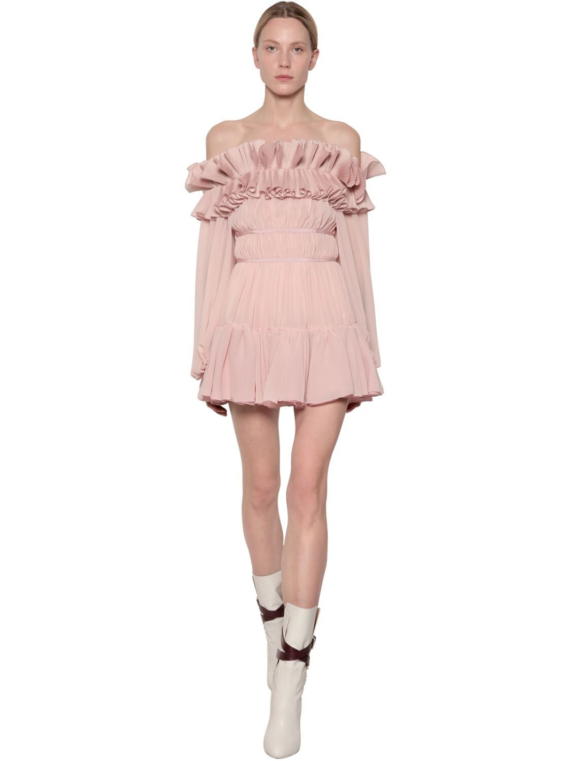 GIAMBA Ruffled Crepe De Chine Mini Dress
