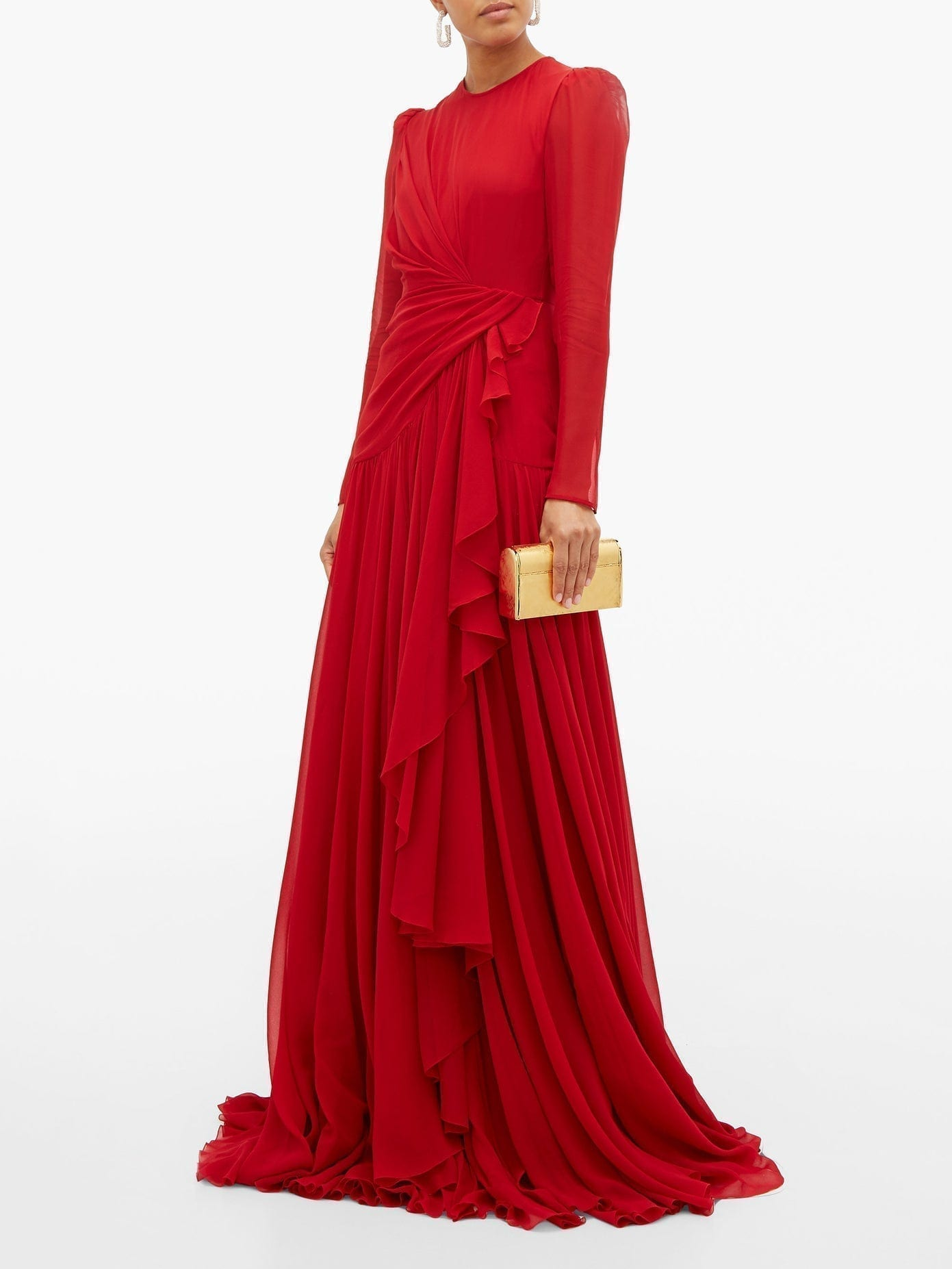 GIAMBATTISTA VALLI Draped Silk-georgette Gown