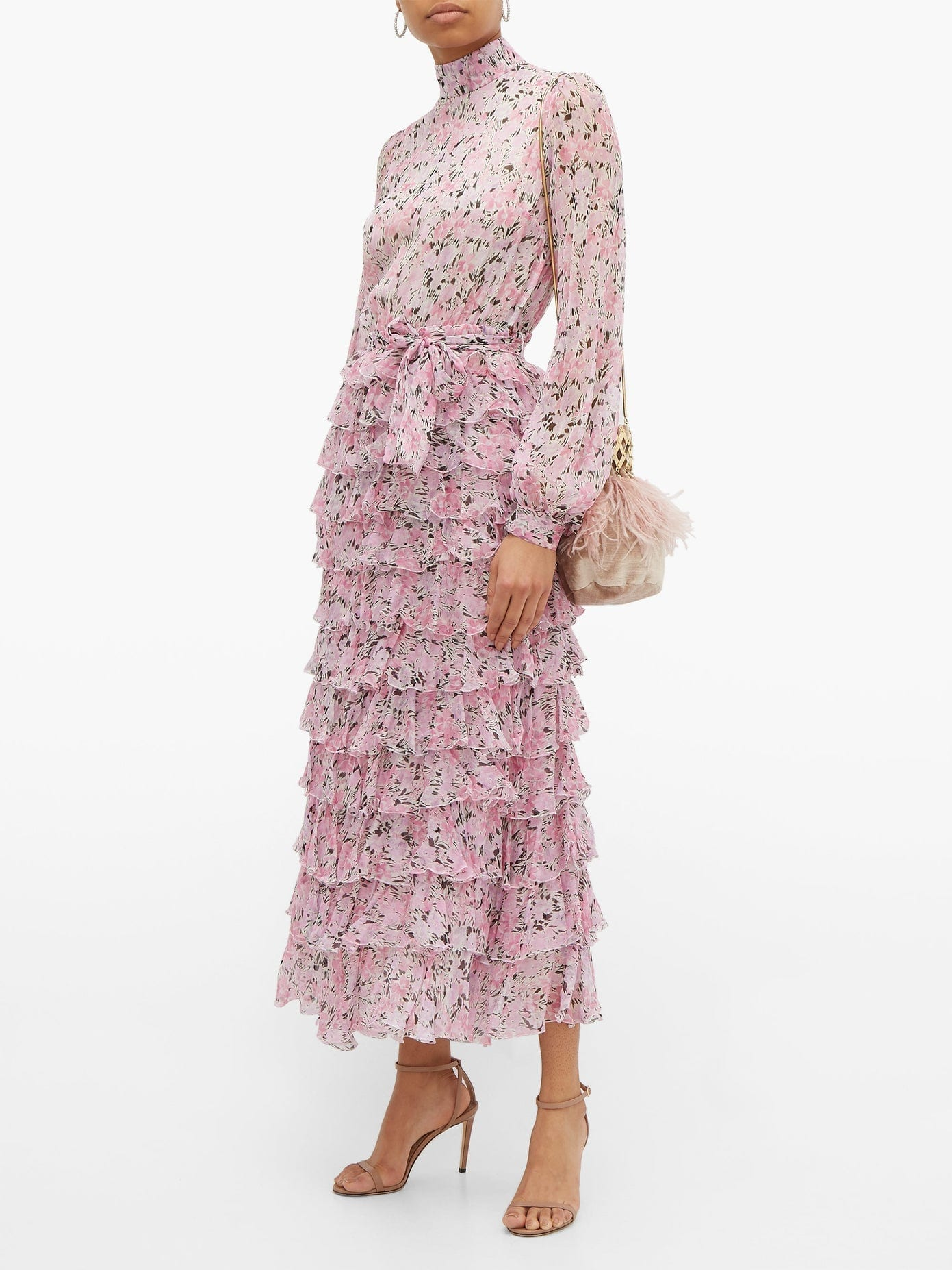 GIAMBATTISTA VALLI Tiered Floral-print Silk-georgette Dress