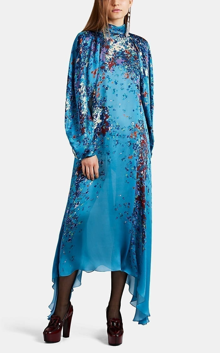 GIVENCHY Ocean-Floral Charmeuse Midi-Dress
