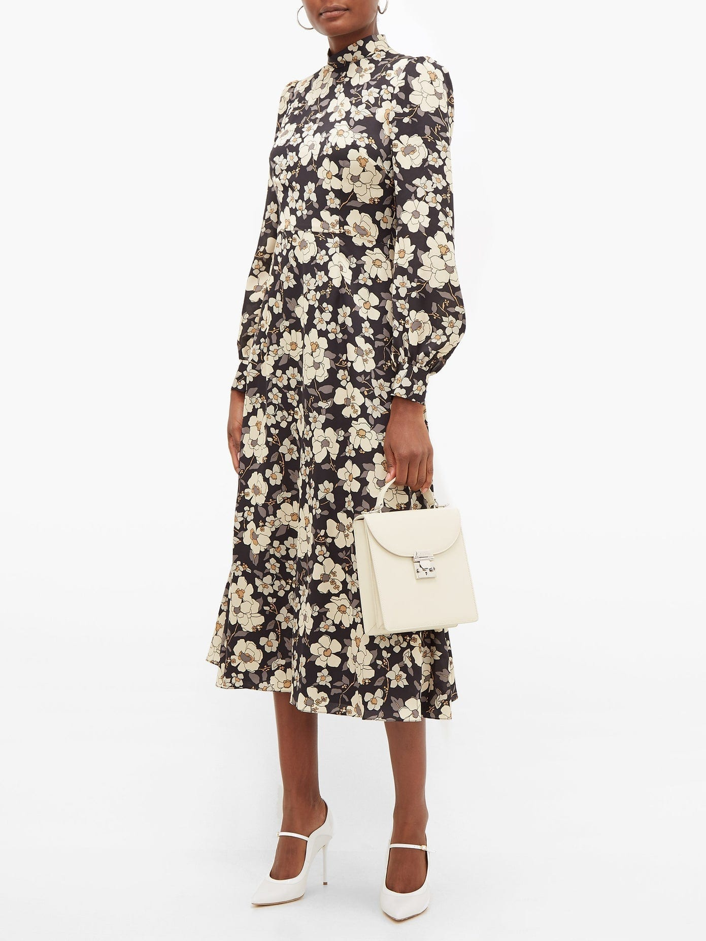 GOAT Goldfinch Camelia-print Crepe Midi Dress