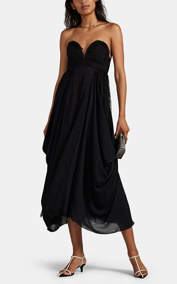 HIRAETH Alma Lace & Crepe Strapless Dress