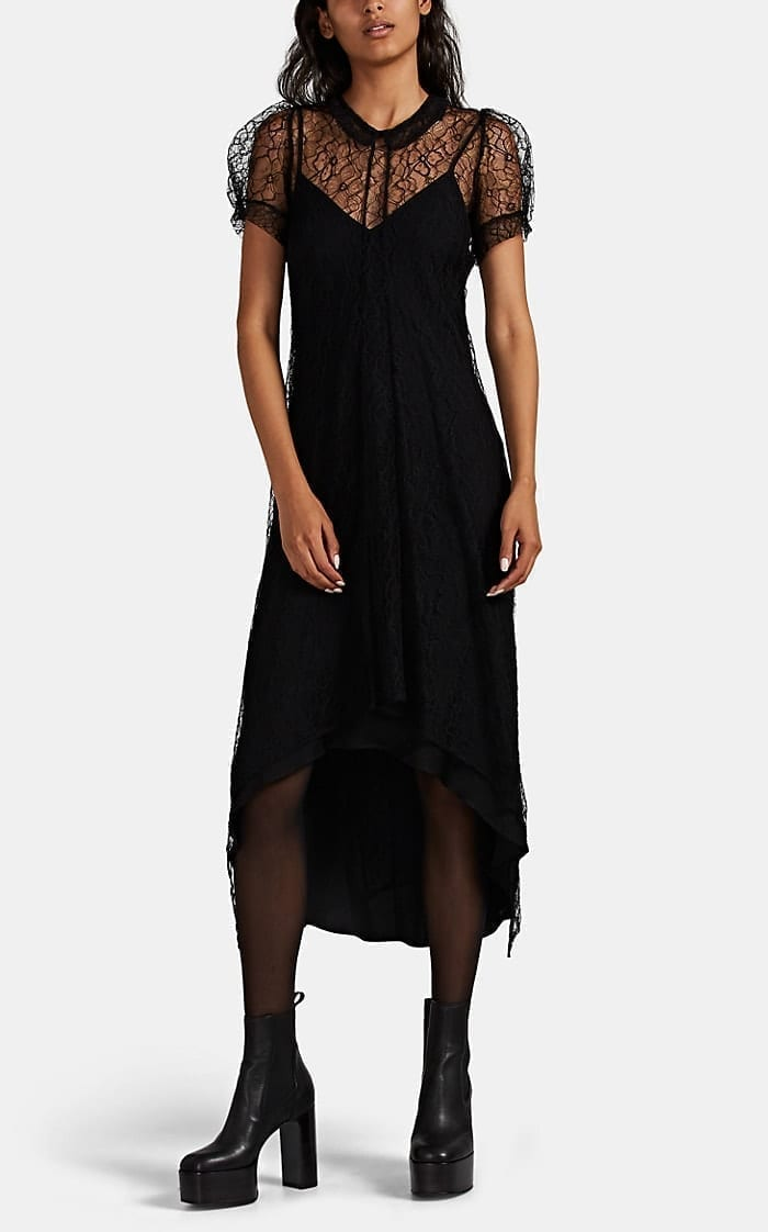 HIRAETH Eloise Lace Puff-Sleeve Dress