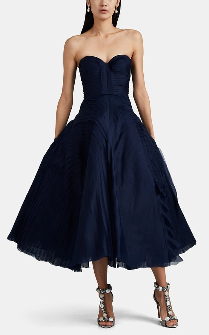 J. MENDEL Tulle & Tiered Gauze Cocktail Dress