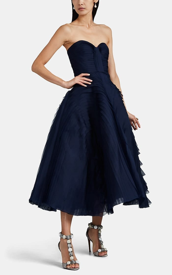 J. MENDEL Tulle & Tiered Gauze Cocktail Dress