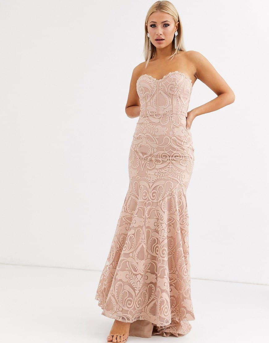 JARLO Bandeau Lace Embroided Maxi Dress