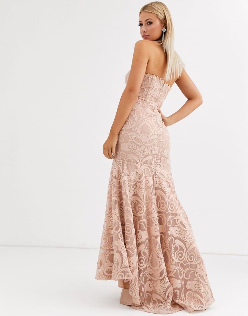 JARLO Bandeau Lace Embroided Maxi Dress