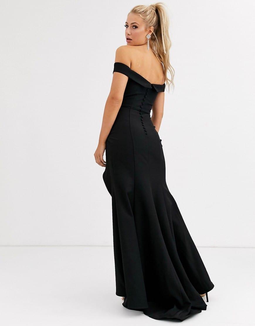 JARLO Sweetheart Plunge Bardot Maxi Dress