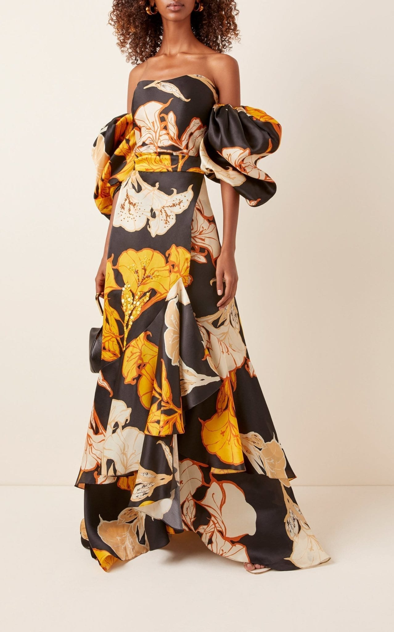 JOHANNA ORTIZ Off-The-Shoulder Floral-Print Silk Gown