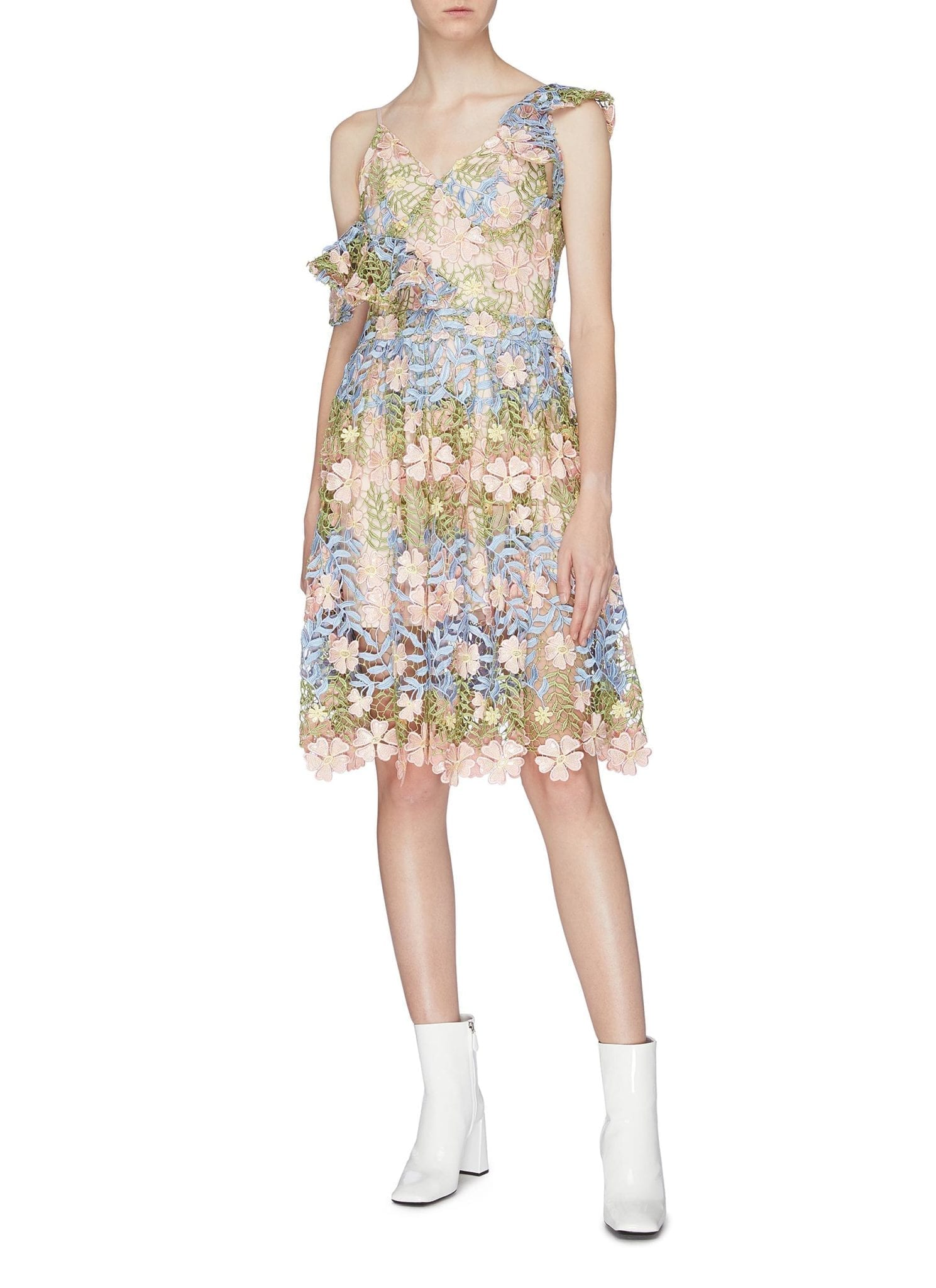 JONATHAN LIANG Asymmetric Cold Shoulder Floral Embroidered Dress