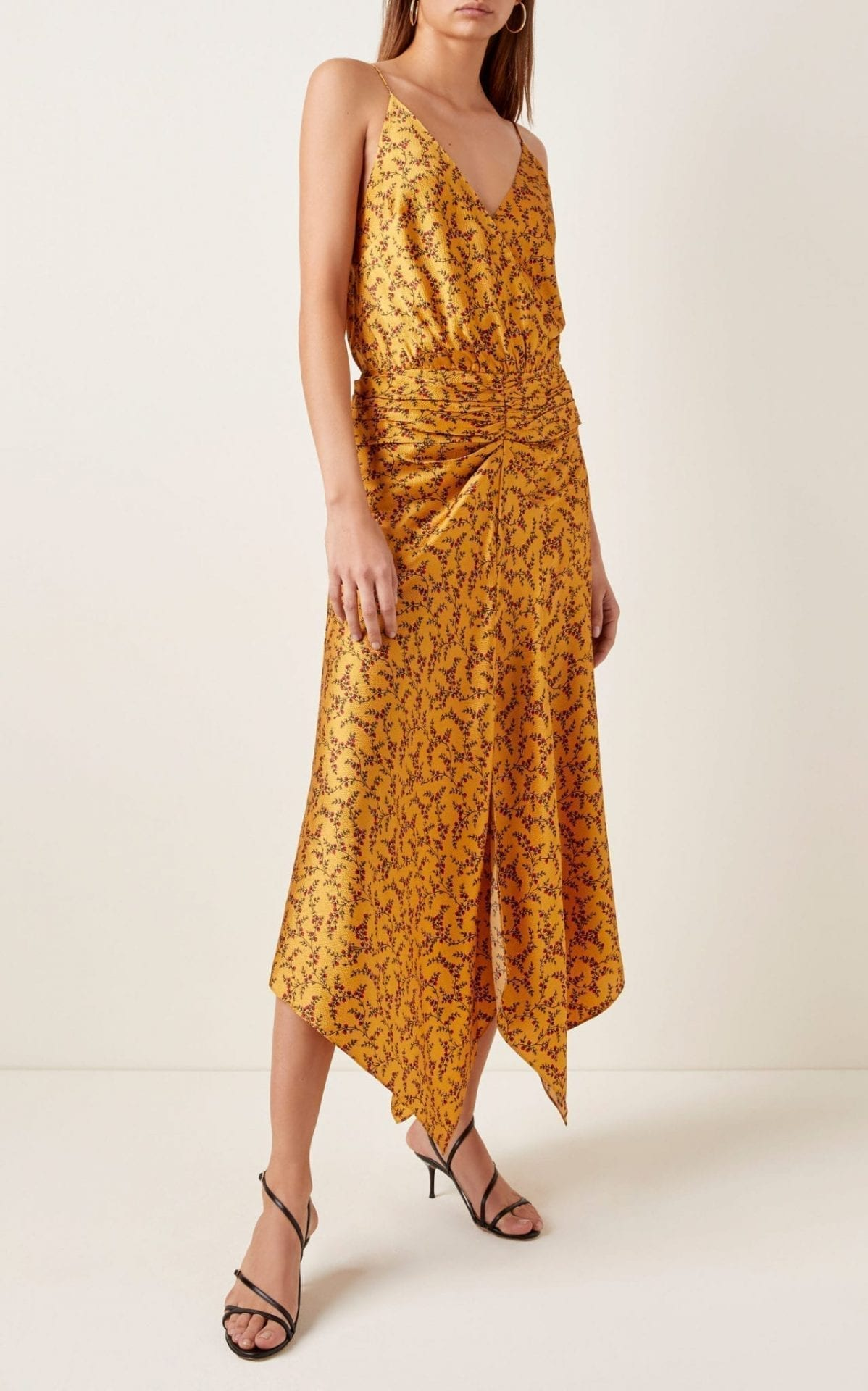 JONATHAN SIMKHAI Asymmetric Ruched Printed Silk Maxi Dress