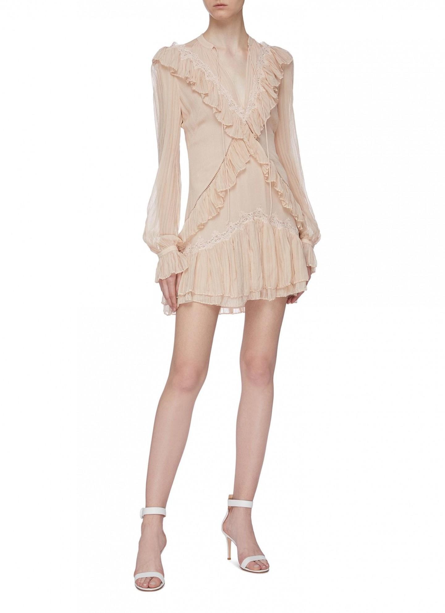 JONATHAN SIMKHAI Ruffle Trim Tiered Hem Stripe Silk Georgette Dress