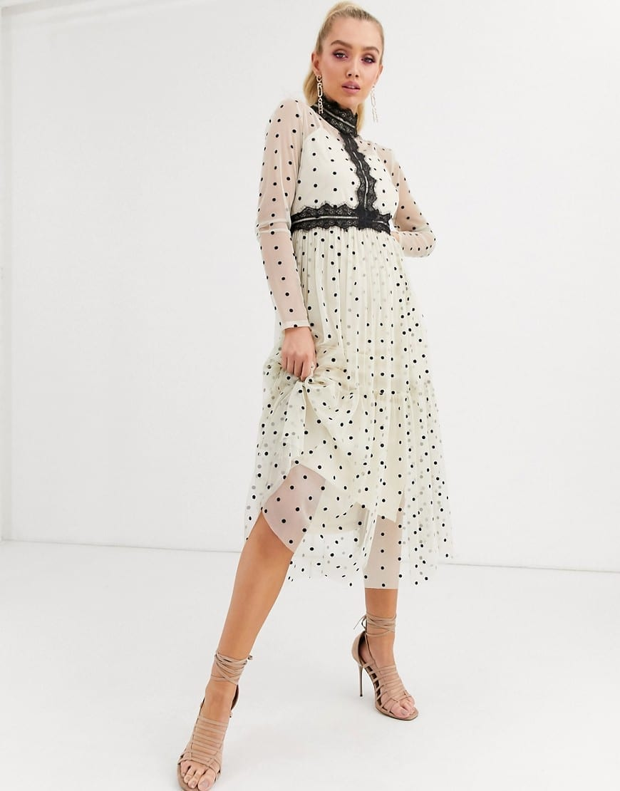 LACE & BEADS Long Sleeve Polka Dot Midi Dress
