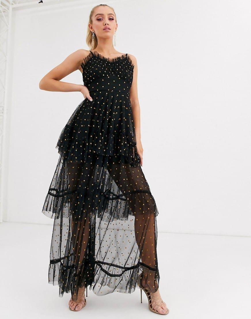 LACE & BEADS Polka Dot Tiered Maxi Dress