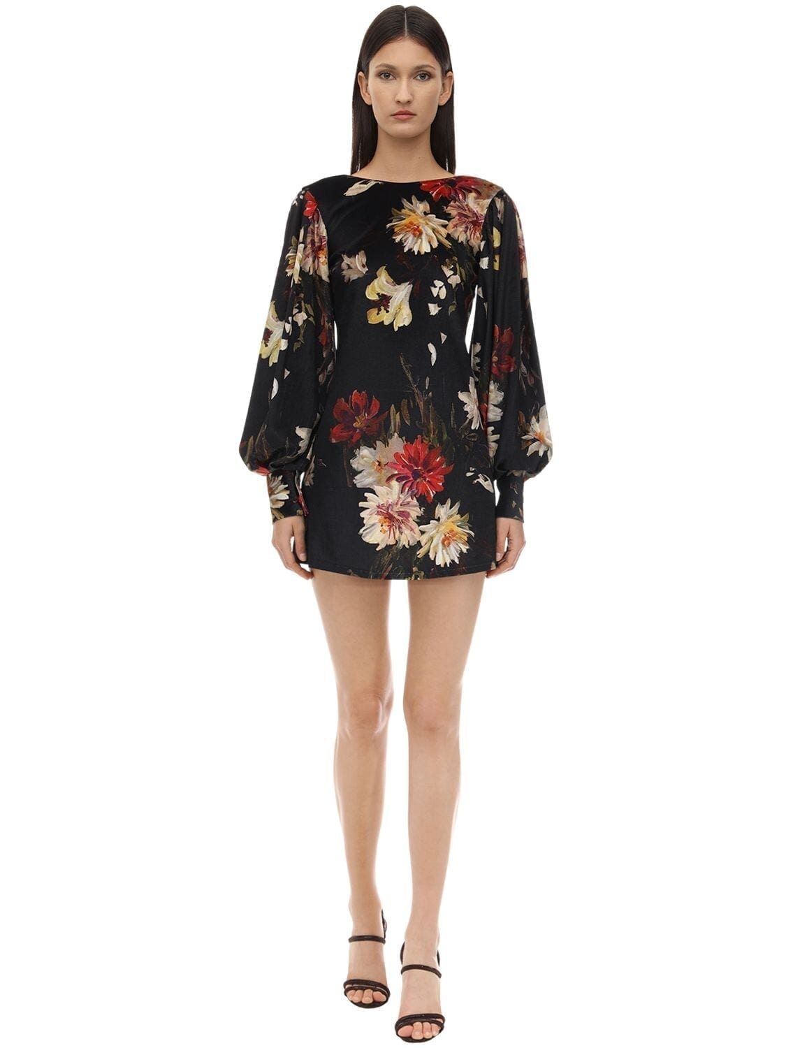 L'AUTRE CHOSE Floral Print Shantung Mini Dress