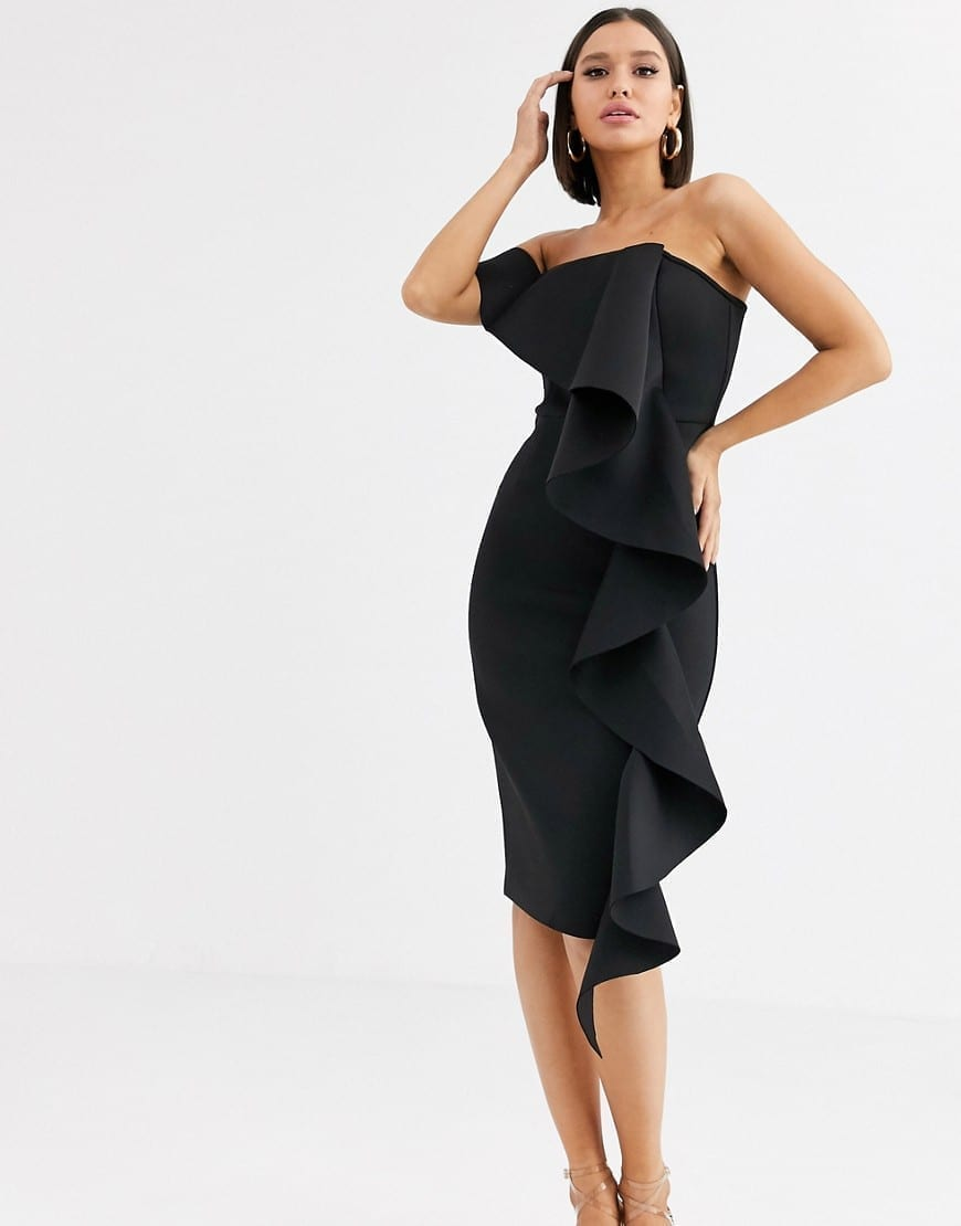 LAVISH ALICE One Shoulder Bardot Frill Scuba Midi Dress