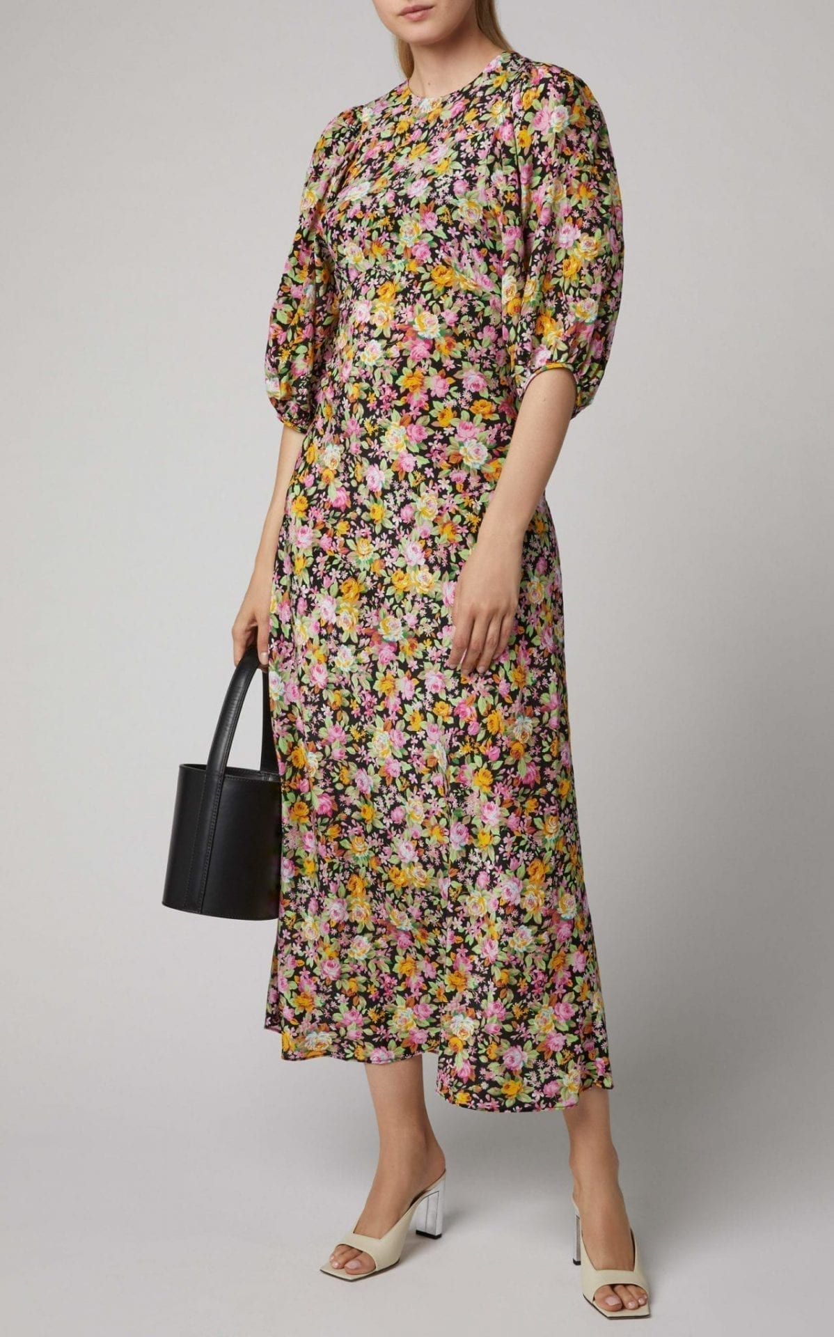 LES RÊVERIES Floral-Print Silk-Chiffon Midi Dress